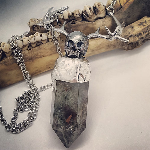 Garden Quartz Point with Skull & Antlers on Long Chain