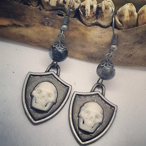 Tiny Carved Bone Skull on Shields Earrings