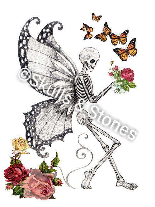 Skeleton Fairy with Roses and Butterflies - Matted
