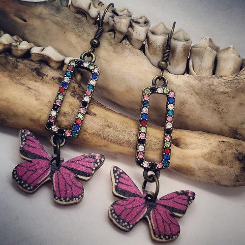 Butterfly Earrings with Rhinestones