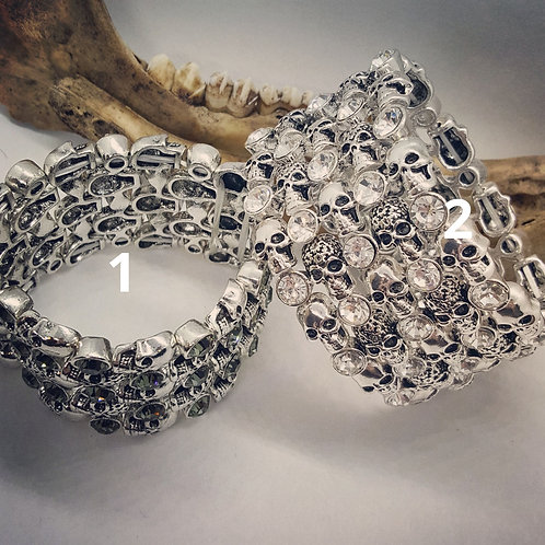 Wide Band Stretch Bracelets with Skulls and Rhinestones