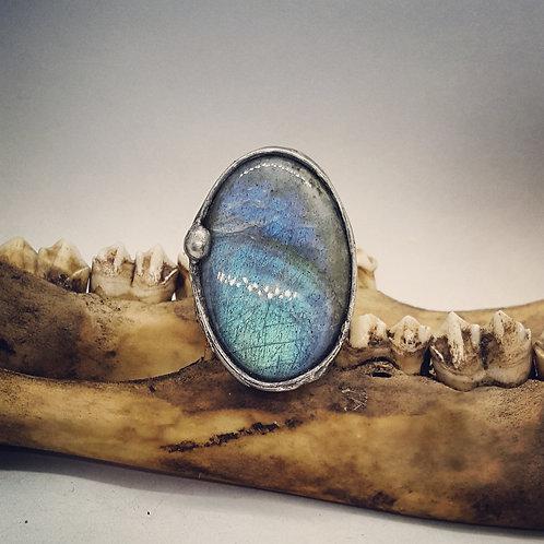 Soldered Adjustable Wide Band Labradorite Oval Statement Ring