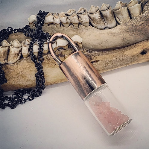 Electroformed Perfume Bottle with Rose Quartz on Long Chain