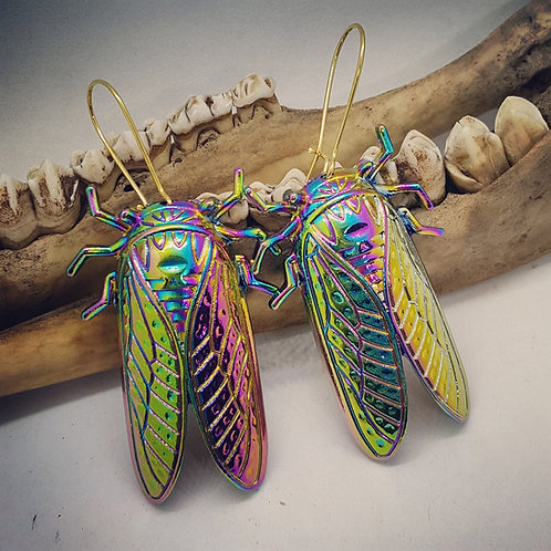 Large Rainbow Cicada Earrings