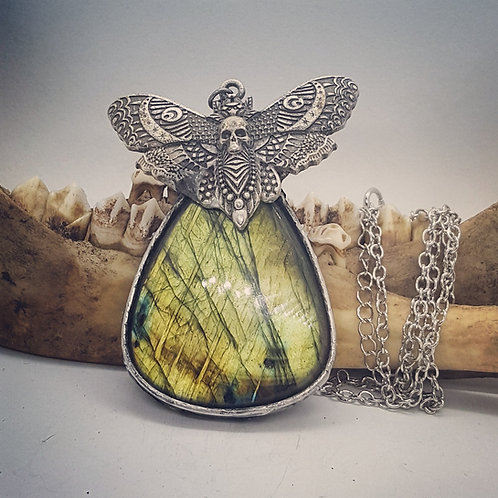 """Large Soldered Labradorite with Moth on 22"""" Chain"""