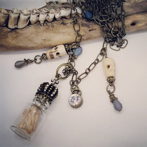 Mice Bones in Vial with Carved Bone Skull Beads Long Chain