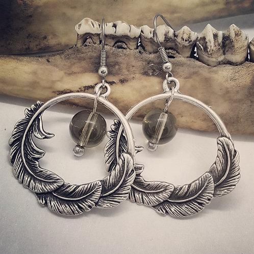 Feathers and Smokey Quartz Bead Earrings