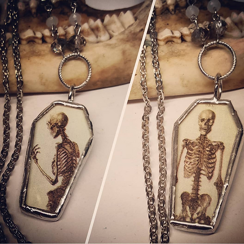 """Double Sided Soldered Coffin with Skeleton on 20"""" Chain"""