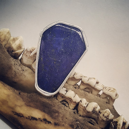 Adjustable Soldered Lapis Coffin Ring
