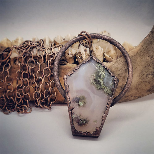 "Electroformed Moss Agate Coffin on 24"" Chain"