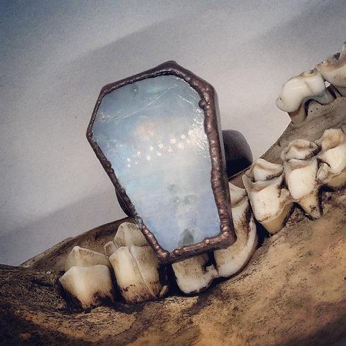 Sz 6 Electroformed Moonstone Coffin Ring