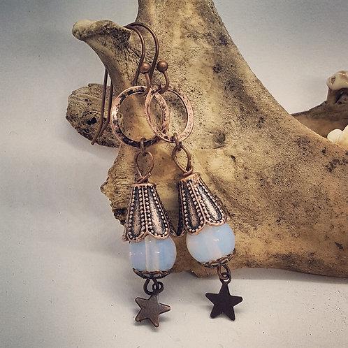 Moonstone Copper Earrings