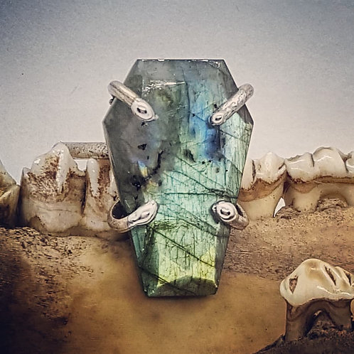 Adjustable Labradorite Coffin Ring