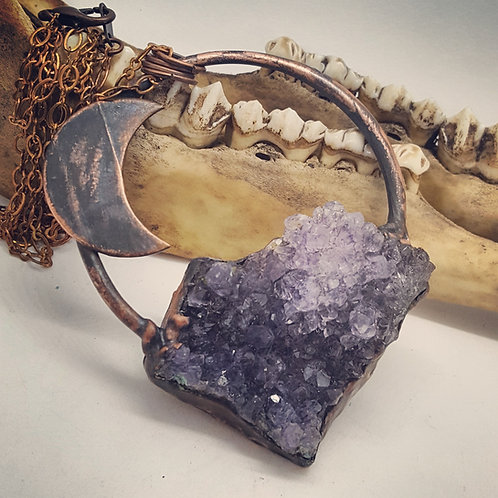 Electroformed Amethyst Druzy with Crescent Moon on Long Chain