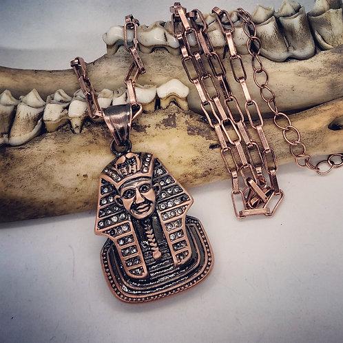 "Coppertone Pharoah with Rhinestones on 18"" Chain"