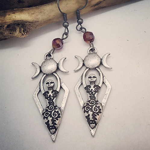 Triple Moon Goddess Earrings with Rhinestones