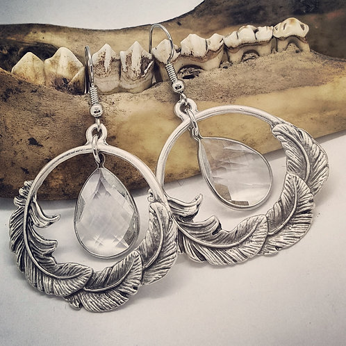 Feather Earrings with Faceted Quartz