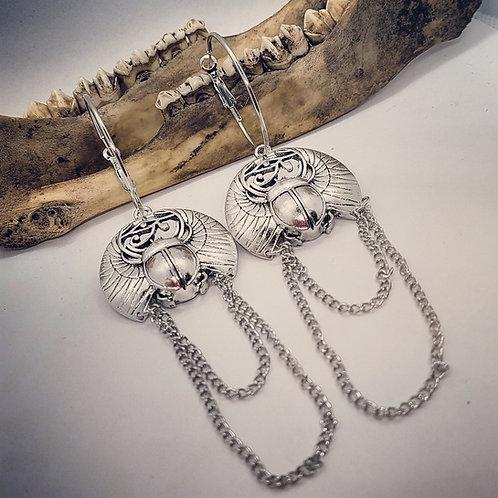 Large Scarab & Chain Earrings