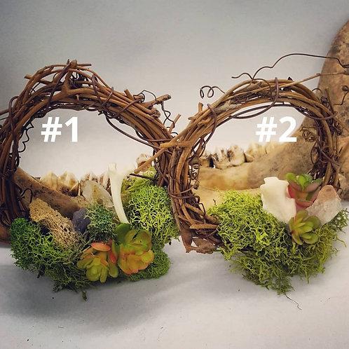 "3"" Grapevine Wreath with Bone, Crystal & No Kill Succulents"