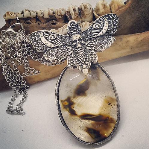 "Soldered Tigerskin Agate with Moth on 22"" Chain"