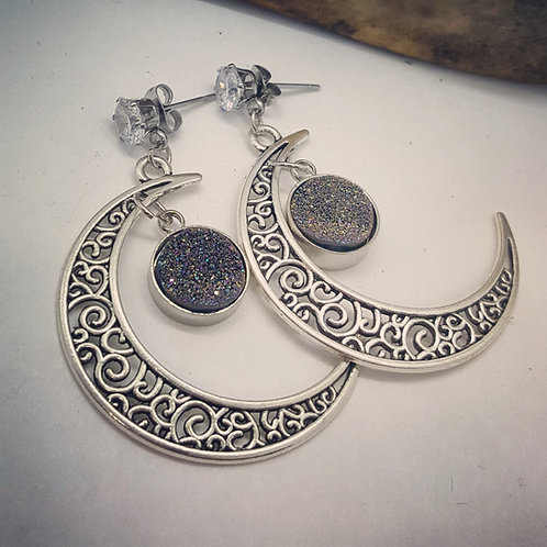 Filigree Crescent Moon with Sparkling Geodes Earrings