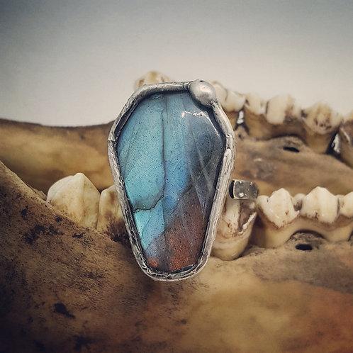Adjustable Soldered Labradorite Coffin Ring