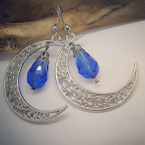 Filigree Crescent Moon with Blue Drops Earrings