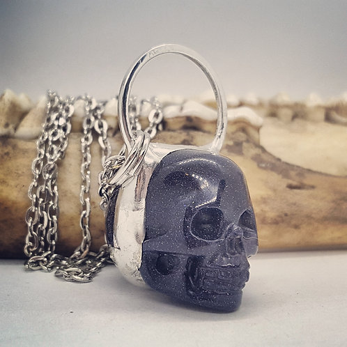 "Soldered 1"" Blue Sunstone Skull on 20"" Chain"