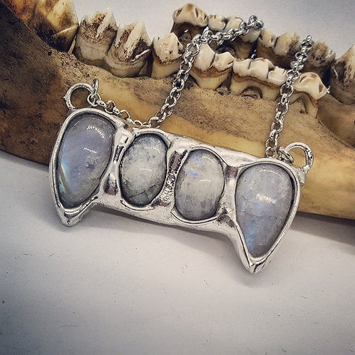 "Soldered Moonstone Vampire Teeth on 20"" Chain"