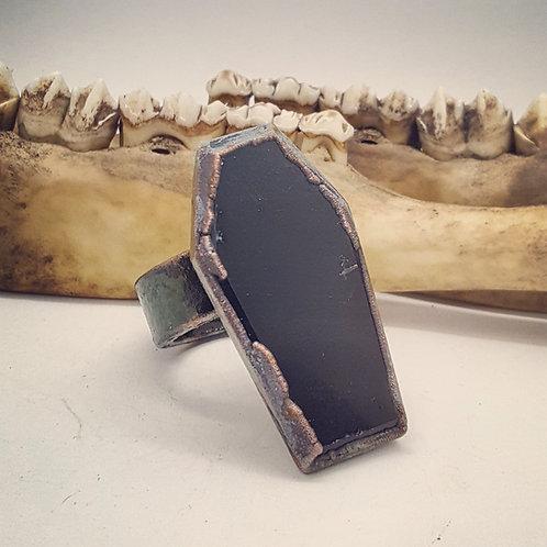 Huge Electroformed Onyx Coffin Ring Sz 11