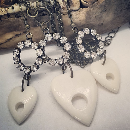 Carved Bone Planchette with Rhinestones in Antique Gold Set