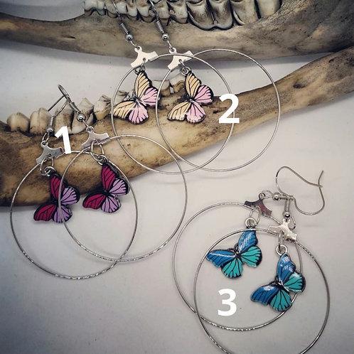 Silvertone Hoops with Butterflies