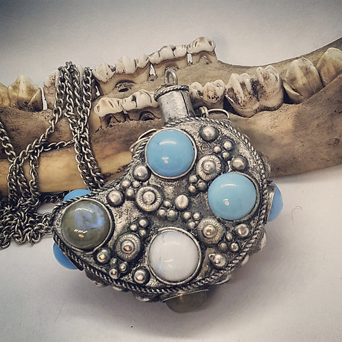 Vintage Perfume Bottle Necklace with Labradorite & Moonstone on Long Chain