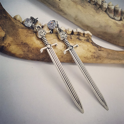 Sword Earrings with CZ's on Stainless Post