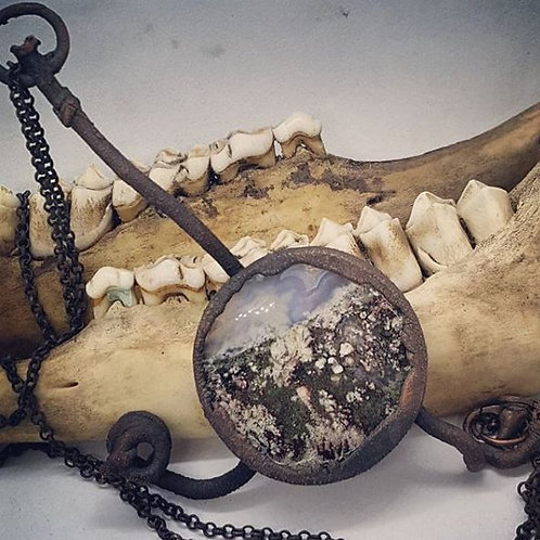 """Electroformed Fairy Moss Agate with Grape Vine on 20"""" Chain"""