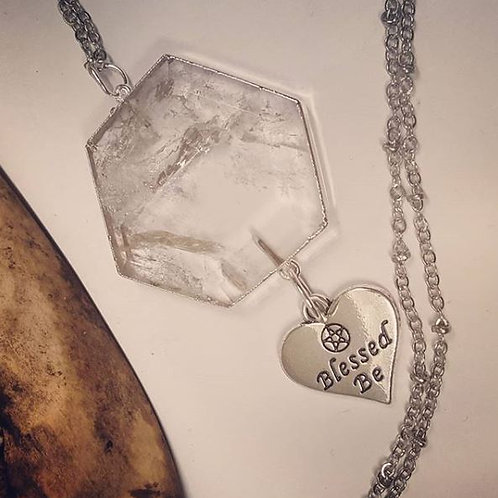 """Quartz with Blessed Be Charm on 20"""" Chain"""