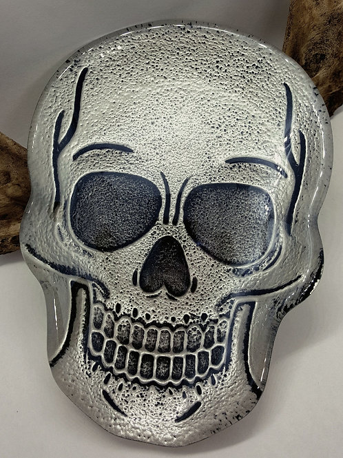 "6""x4"" Hand Painted Glass Skull Trinket Tray"