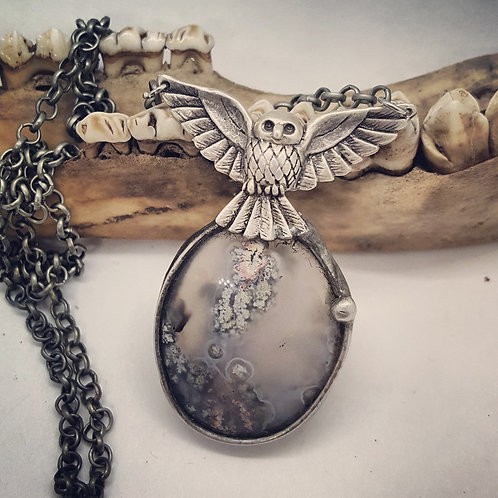 "Soldered Fairy Moss Agate with Owl on 20"" Chain"