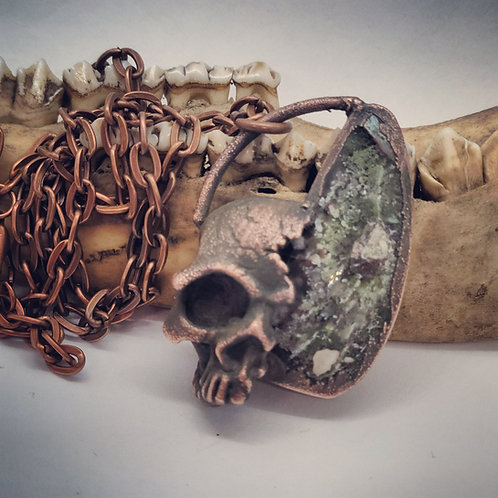 """Electroformed Skull on Moss Agate with 22"""" Chain"""