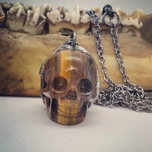 "Soldered 1"" Tiger Eye Skull on 20"" Chain"