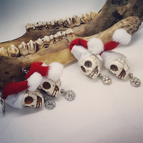 Santa Skull Earrings