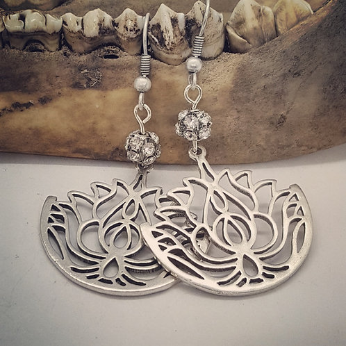 Lotus Flower with Rhinestone Earrings