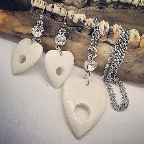 Carved Bone Planchette with Rhinestones Set