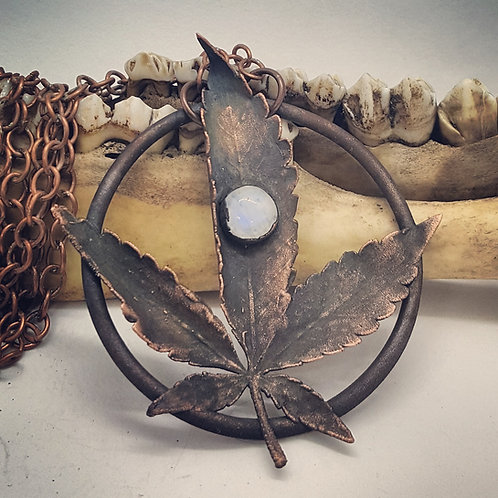 """Electroformed Cannabis Leaf with Moonstone on 24"""" Chain"""