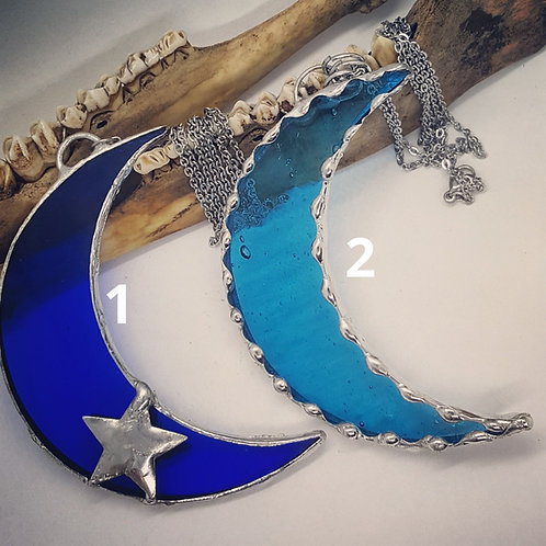 """Large 3"""" Soldered Glass Crescent Moon on 20"""" Chain"""