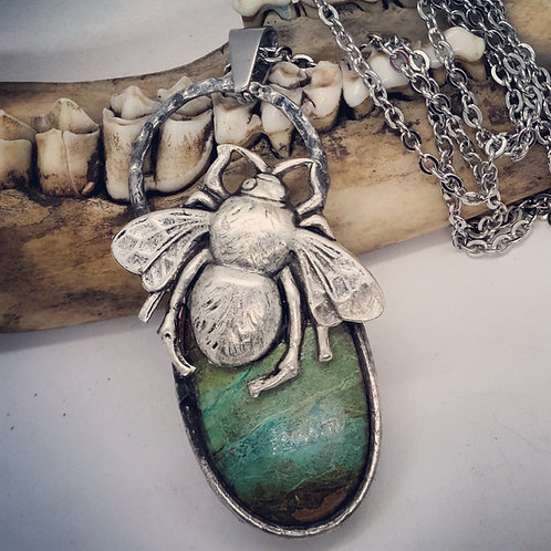 """Soldered Chrysocilla with Bumblebee on 22"""" Chain"""