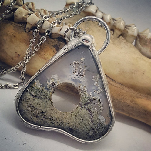"Soldered Fairy Moss Agate Planchette on 20"" Chain"