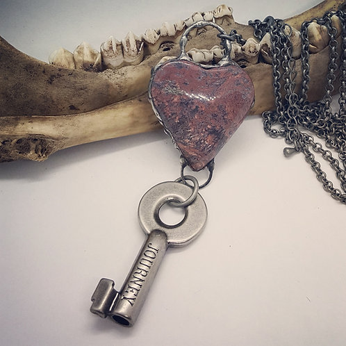 Soldered Moss Agate Heart with Key on Long Chain