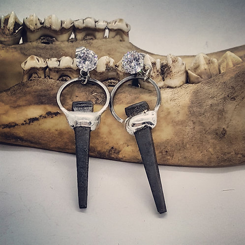 Small Soldered Coffin Nail Earrings with Rhinestones CZ's & Stainless Posts