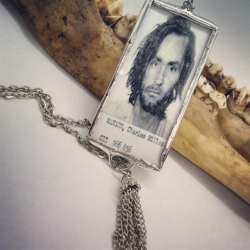 "Double Sided Soldered Manson Pendant with Tassel on 20"" Chain"